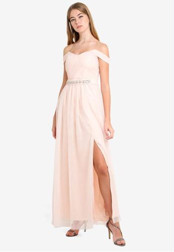 Little Mistress beige Nude Embellished Maxi Dress AEECDAAAFF74ACGS_1