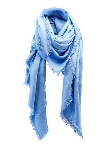 TORY BURCH blue Logo Jacquard Traveler Scarf (zt) 5CD19AC3CA1393GS_1