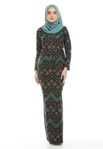 Kebaya Batik Melati from ASIKINAHMAD in Black and Red and Green and Multi