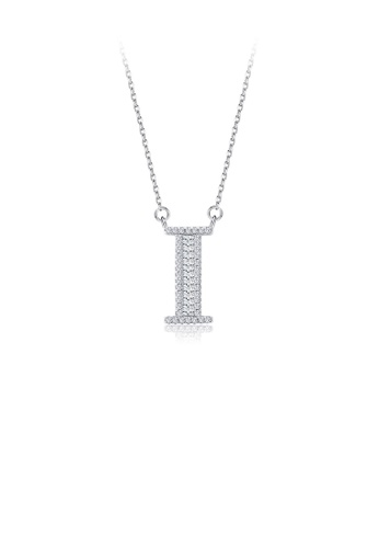 Glamorousky white 925 Sterling Silver Fashion Personality English Alphabet I Cubic Zircon Necklace C32EAAC1EDD7D4GS_1