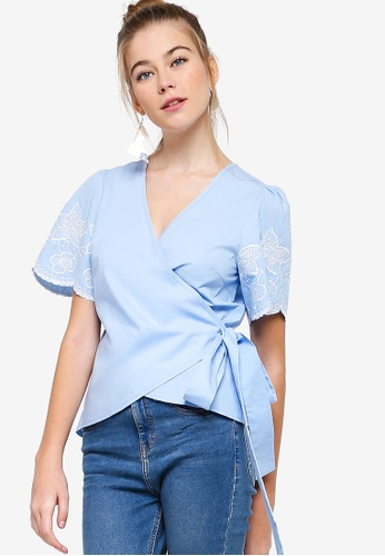 927cb0e8ae9 Shop Something Borrowed Embroidered Sleeves Wrap Top Online on ZALORA  Philippines
