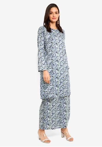 Gene Martino black and blue Floral Cotton Kurung 5527FAA90E5CB8GS_1