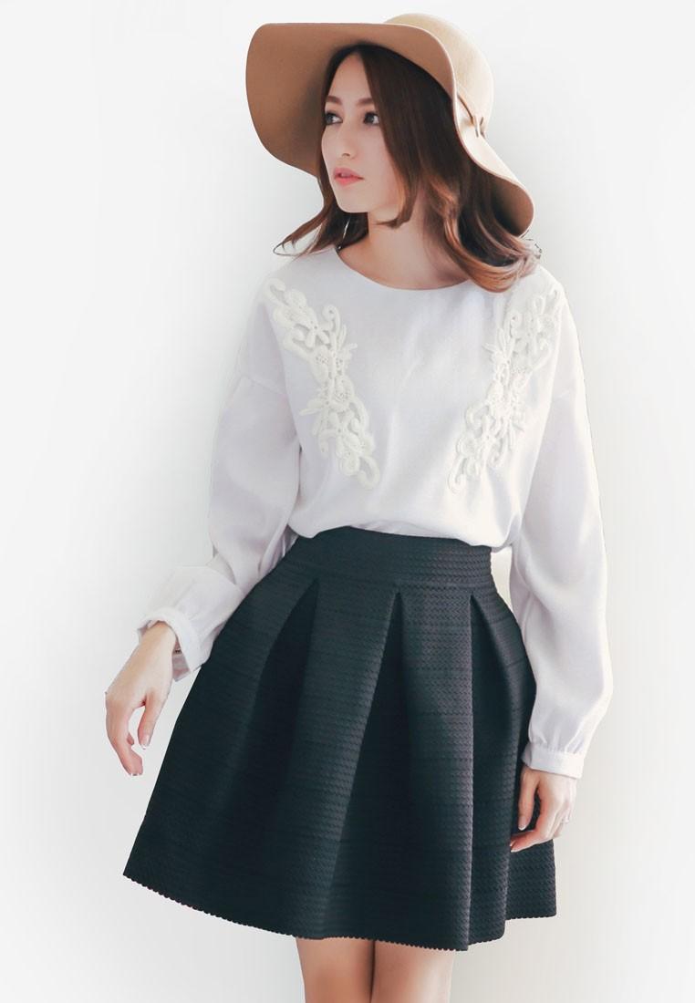 Crochet Inspired Long Sleeve Blouse