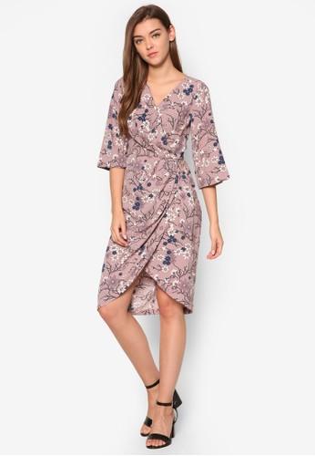 印花裹esprit hk store飾七分袖連身裙, 服飾, 洋裝