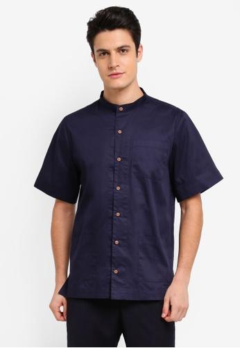 Zalia Homme 海軍藍色 Stand Collar Short Sleeve Shirt B5193AA6130A19GS_1