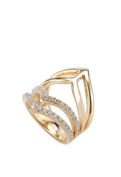 Geo Armour Crystal Gold Ring