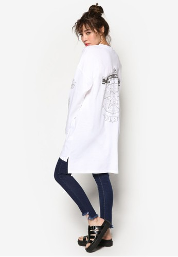 韓式風格圖文設計寬版TEEesprit tote bag, 服飾, 上衣