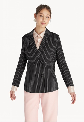 29dc3941c82212 Buy Pomelo Pinstripe Double Breasted Blazer - Black Online on ZALORA ...