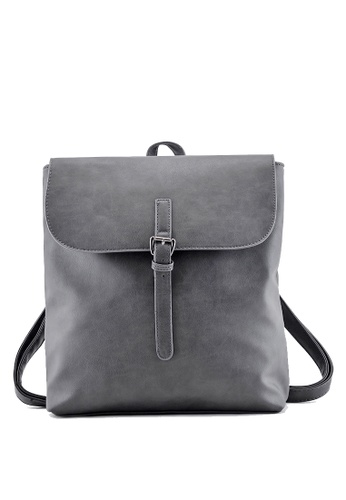 Vince grey Lady's Casual Retro PU Leather Backpack School Travel Backpack(Grey) FL898AC84VTNMY_1
