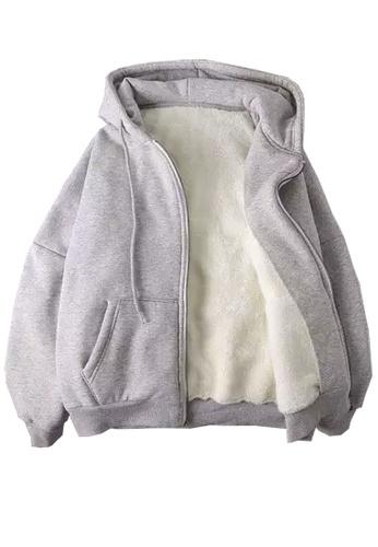 Twenty Eight Shoes grey VANSA Solid Color Composite Velvet Hooded Coat  VCW-C017 538E9AAFF907B0GS_1