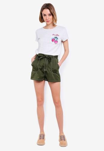 0f20c99aef83e0 Shop Brave Soul Bellamy Tie Waist Contrast Stitch Shorts Online on ...