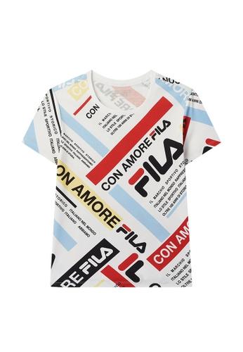 FILA pink All Over FILA Logo Colour Block Cotton T-shirt 9835DAAF55B98FGS_1