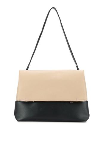 ZALORA beige Colour-Blocked Flap Shoulder Bag 23B3CZZ765A63CGS_1