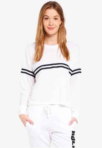 Hollister white Boyfriend Stripe Tape Top 89469AA2049E40GS_1