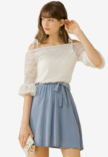 Eyescream blue Lace Bodice Cold Shoulder Dress D8E88AAB3C8C82GS_1