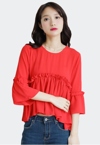 Shopsfashion red Ruffles Blouse in Red 2E721AAA221663GS_1