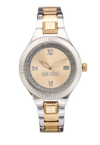 R7253215506 Just Indie 閃飾雙色不銹鋼圓esprit 雨傘錶, 錶類, 飾品配件