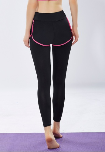 Women Fake Two Piece Yoga Sport Pants Legging Pink
