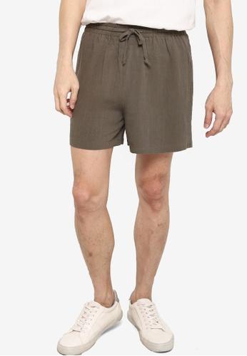 ZALORA BASICS green Drawstring Linen shorts B0495AA3F3275CGS_1