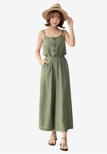 Tokichoi green Button Up Cami Jumpsuit 247A8AAB05A678GS_1