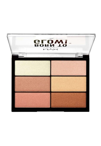 NYX Professional Makeup pink and beige NYX Professional Makeup Born to Glow Highlighting Palette 8EF06BEF115574GS_1