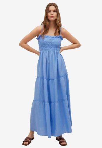 Mango blue Elastic Panel Linen Dress 6092BAA4C309D3GS_1