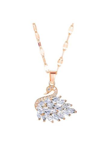 YOUNIQ white YOUNIQ SVANE Swan 18K Rosegold Titanium Steel Necklace with White Cubic Zirconia Stone FC5D1ACCD865CCGS_1