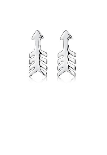 Glamorousky silver 925 Sterling Silver Simple Fashion Fish Bone Stud Earrings 62C70AC391273AGS_1