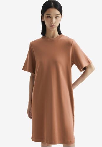 COS brown T-Shirt Dress D0190AA05F2928GS_1