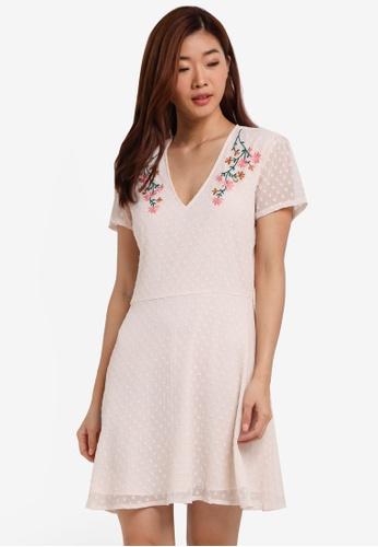 ZALORA pink Dobby Embroidered Dress 6691FAAA303850GS_1