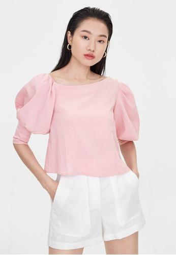 Pomelo pink Puff Sleeve Asymmetric Top - Pink F27EEAA0D2EFC7GS_1