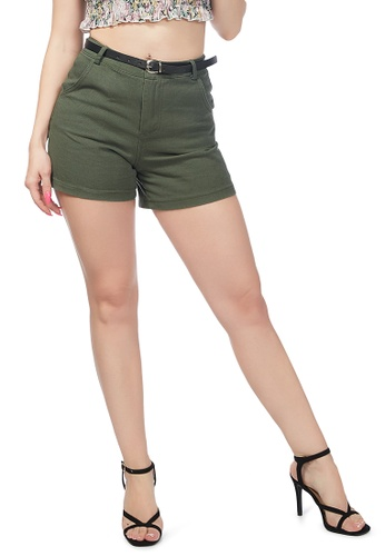 London Rag green Olive Green Cotton Shorts CB789AA0A5CD33GS_1