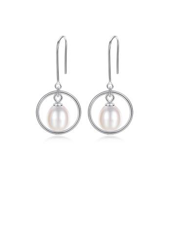 Glamorousky white 925 Sterling Silver Fashion Simple Geometric Circle White Freshwater Pearl Earrings 4E6C8AC5788383GS_1