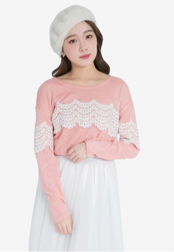 Yoco pink Lace Insert Long Sleeve Top DC87FAA4CEF4DDGS_1