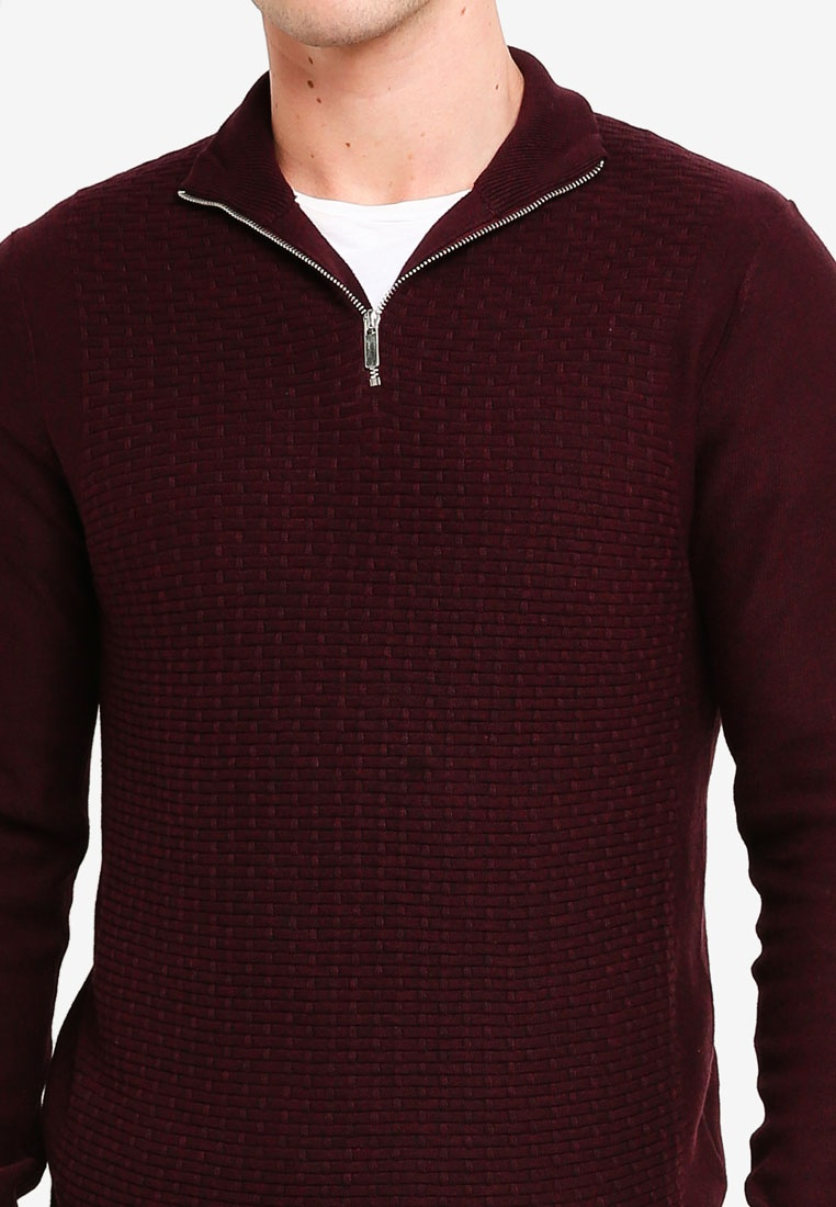 London Textured Zip Burton Jumper Burgundy Half Burgundy Menswear OqYdzZw