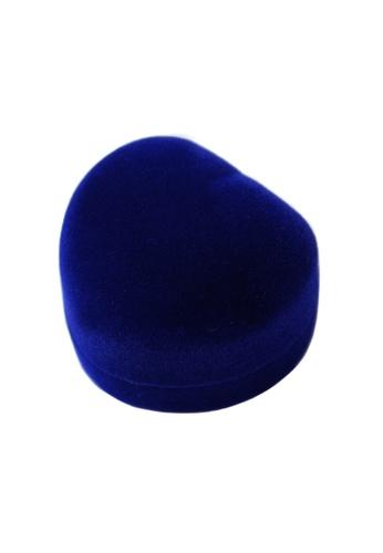 Elfi blue Luxury Heart Velvet Ring Box - Blue EL186AC90HKVMY_1