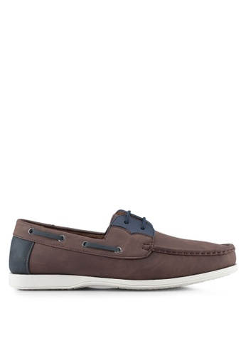 ZALORA brown Faux Leather Contrast Colour Boat Shoes C1D14SH5A8EF1CGS_1