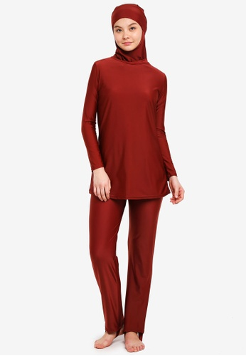 PINK N' PROPER red Modest Saloma Muslimah Swimwear Set 20336US48D7D22GS_1