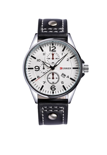 curren silver Curren 8164 Men's Military Sports Date Display Leather Strap Classic Watch (Silver Black) CU537AC96TUXMY_1