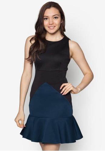 zalora 台灣門市拼色波浪下擺洋裝, 服飾, 洋裝