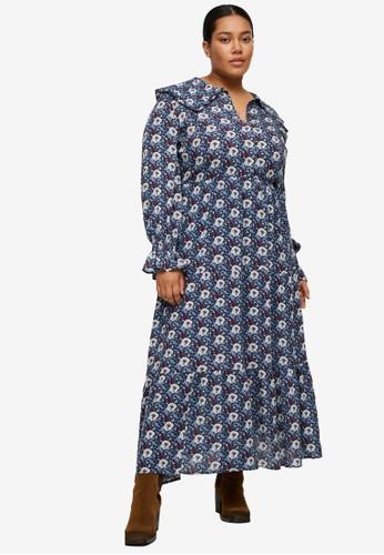 Violeta by MANGO blue Plus Size Floral Print Dress 8765DAAD6FE044GS_1