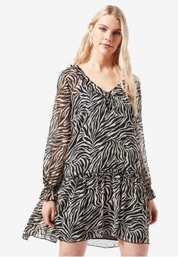 Dorothy Perkins brown Zebra Print Chiffon Frill Front Smock Shift Dress 97926AA2A41B5BGS_1