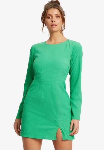 Sável 綠色 短洋裝 B3363AA43C911AGS_1