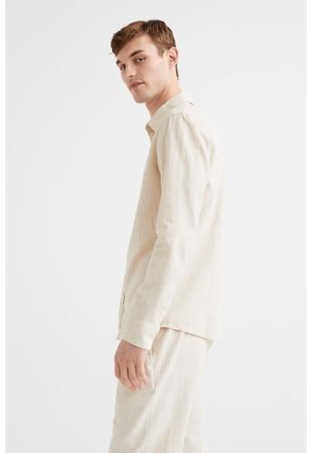 H&M white Linen-blend shirt Slim Fit 3792DAA3E2784EGS_1
