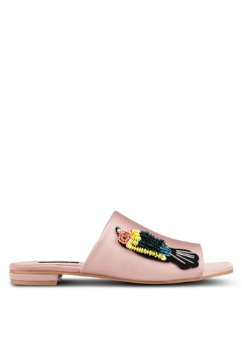 ZALORA pink Embellished Bird Detail Slides 6D49DSHC278CA0GS_1