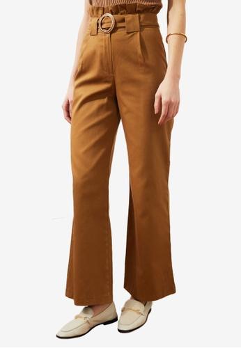 Trendyol 褐色 Buckle Paperbag 長褲 4290FAA2D95BF9GS_1