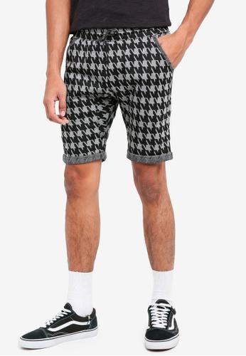 UniqTee grey Houndstooth Print Jersey Shorts 9CEBFAAB2C57ECGS_1