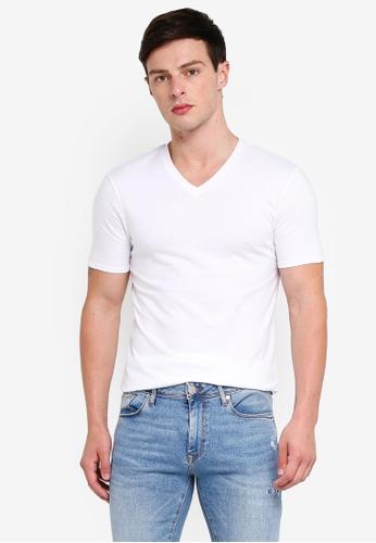 River Island 白色 修身V領T恤 C405EAA5FCDFC6GS_1