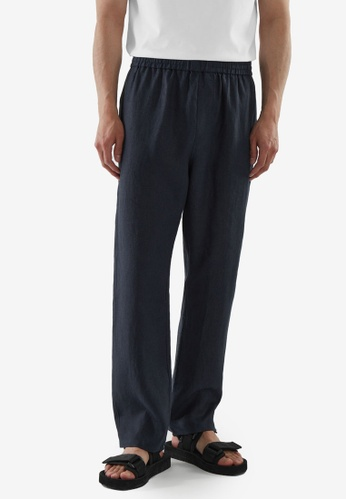 COS blue Relaxed-Fit Hemp Trousers 4DA1EAAD946AFBGS_1