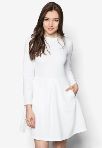 暗紋長袖連身裙, 服飾,zalora時尚購物網評價 洋裝